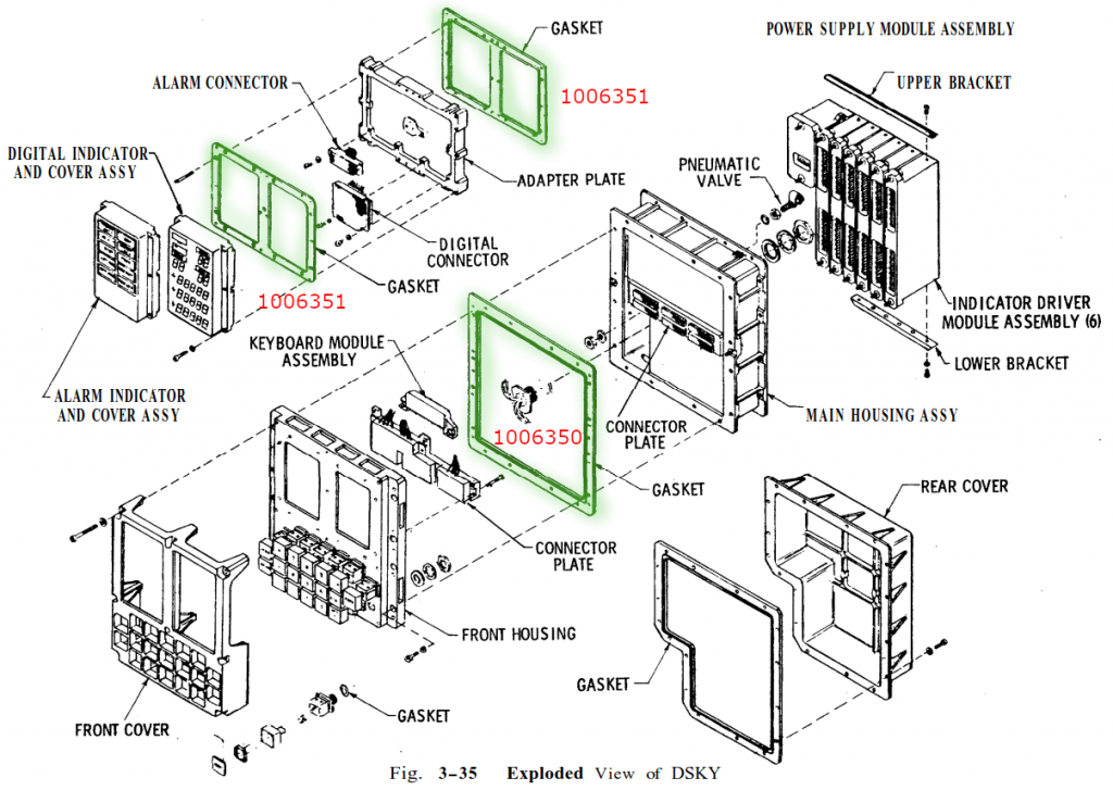 Exploded view of DSKY unit